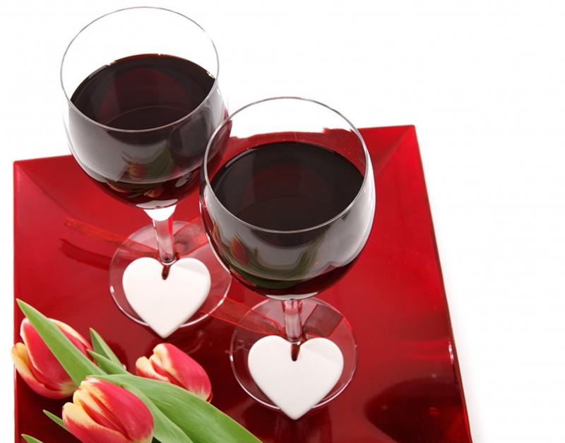 Vin rouge coeur